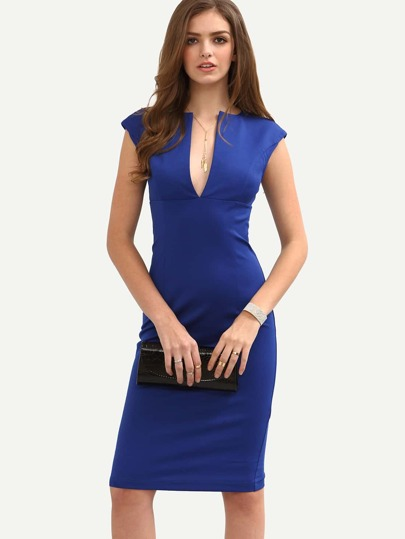Blue Cap Sleeve Zipper Split Front Sheath Dress