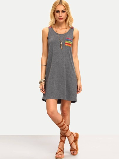 Grey Sleeveless Embroidered Shift Dress
