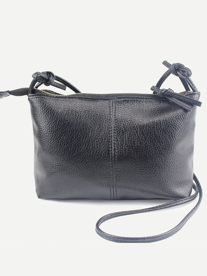 Faux Leather Top Zip Crossbody Bag - Black