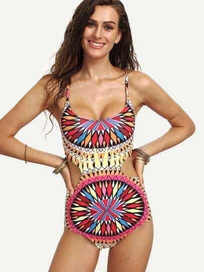 Multicolor Geometric Print Lace-Up Cutout Swimsuit