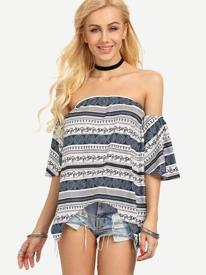 Off-The-Shoulder Multicolor Paisley Print Asymmetric Top