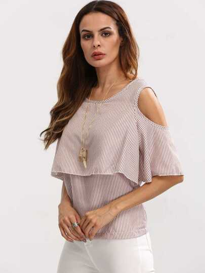 Open Shoulder Layered Vertical Striped Top - Brown