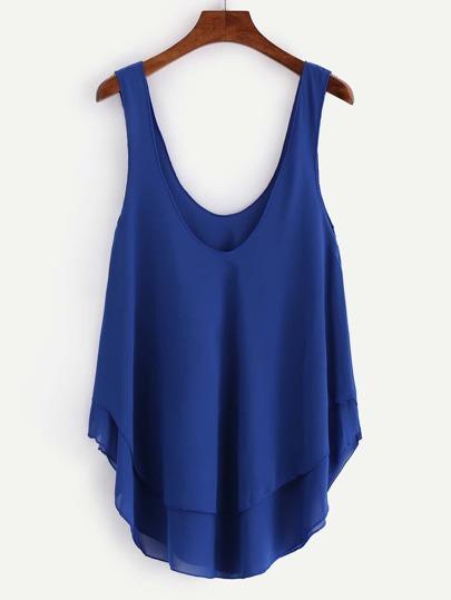 Layered Swing Chiffon Tank Top - Blue