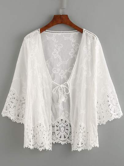 White Lace Crochet Hollow Out Cardigan