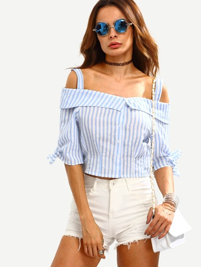 Cold Shoulder Vertical Striped Knotted Crop Top With Buttons