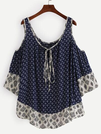 Open Shoulder Tie Neck Tribal Print Top