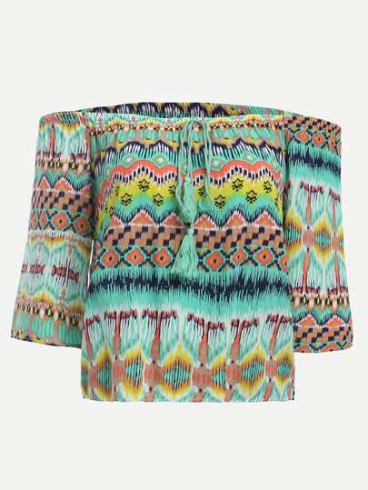 Multicolor Off The Shoulder Tribal Print Lace up Top