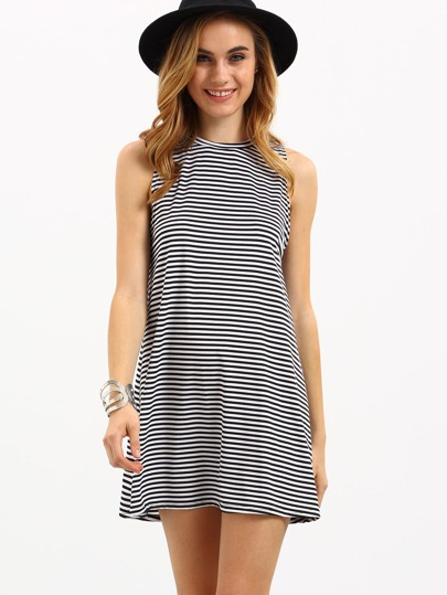 Black White Striped Shift Tank Dress