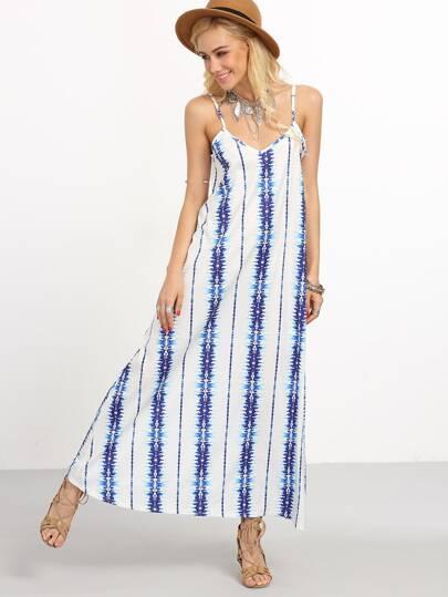 Tie Dye Stripe Print Long Cami Dress - Blue