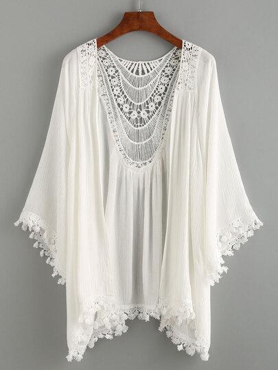 Kimono Uncinetto Inserito Rifilato Pizzo - Bianco
