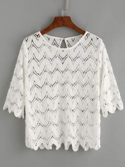 Scalloped Hollow Out Crochet Top - White