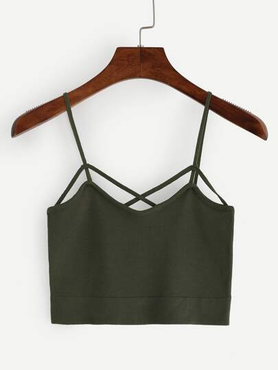 Strappy Crop Knitted Cami Top - Olive Green