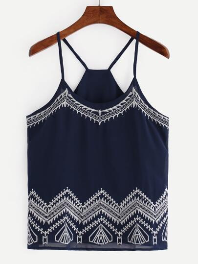 Embroidered Chiffon Cami Top - Navy