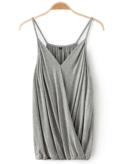 Grey Spaghetti Strap V Neck Tank Top