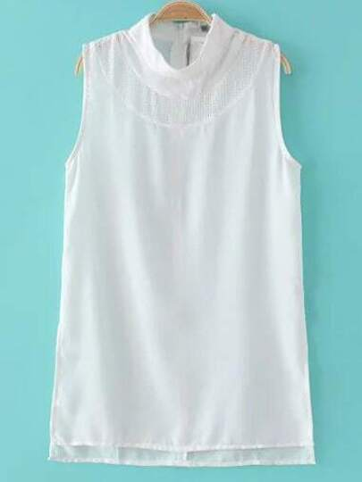 White Hollow Split Side Sleeveless Blouse