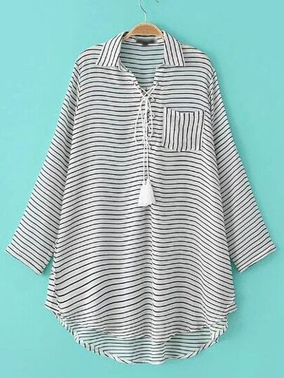 White And Black Striped Lace-up Roll-up Sleeve Blouse