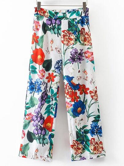 Multicolor Floral Wide Leg Pants