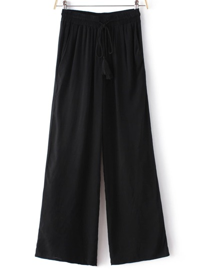 Black Tie Waist Wide Leg Pants