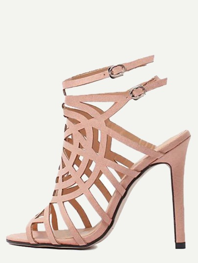 Apricot Peep Toe Hollow Buckle Strap Stiletto Heels