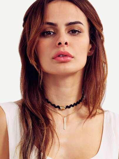Halskette mehrreihig mit Metall-Anhänger