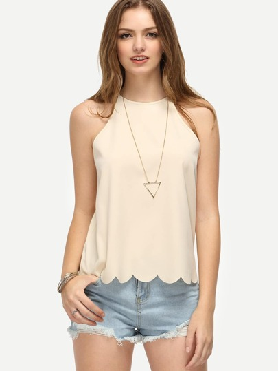Crew Neck Scallop Hem Tank Top