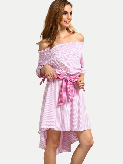 Pink Striped Off The Shoulder High Low Dress
