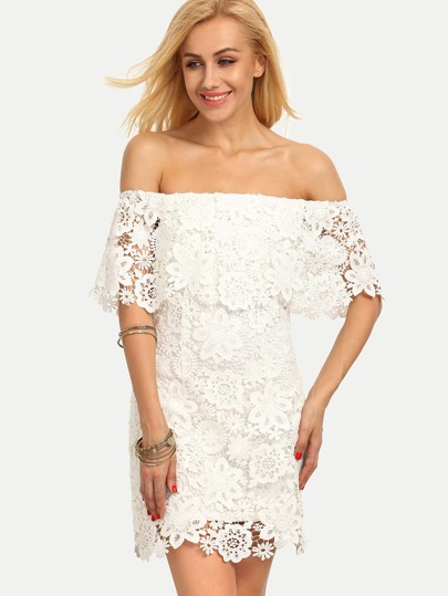 White Off The Shoulder Backless Bodycon Dress