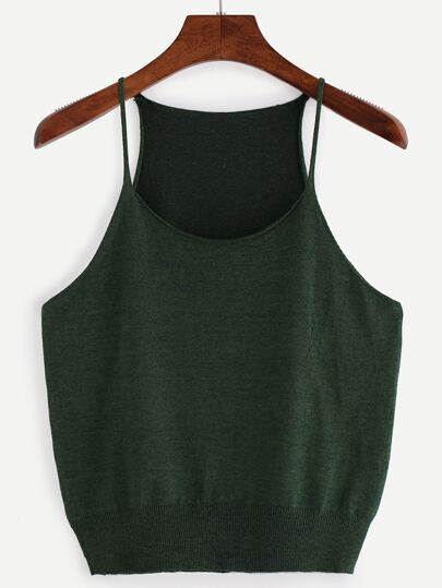 Army Green Spaghetti Strap Tank Top