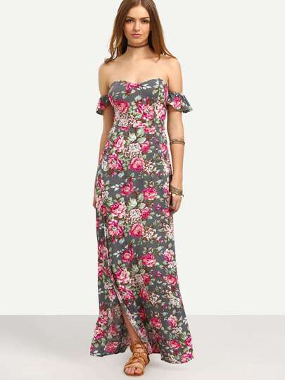 Multicolor Floral Off The Shoulder Split Maxi Dress