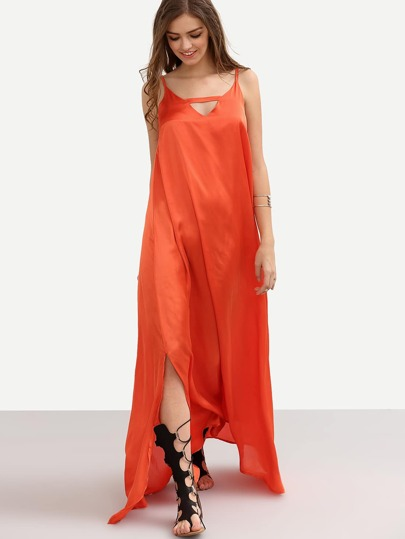 Orange Spaghetti Strap V Neck Split Maxi Dress