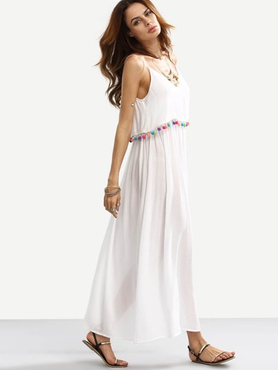 White Spaghetti Strap Pom-pom Decorated Dress