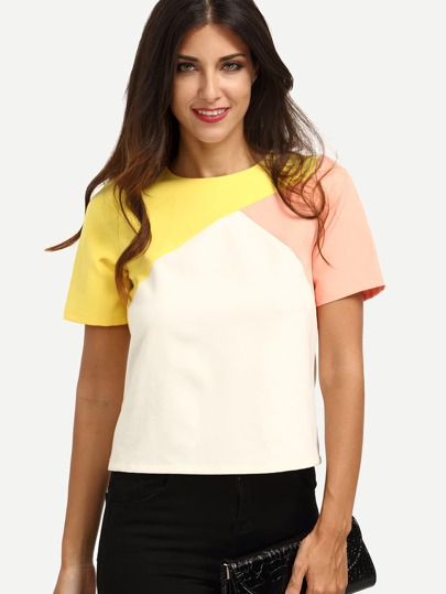 Color Block Zipper T-shirt