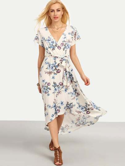 Multicolor Floral Tie V Neck High Low Dress