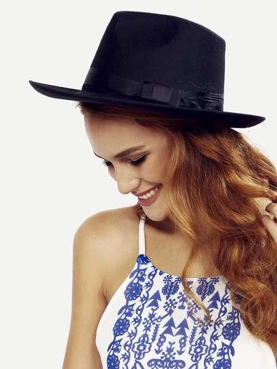 Black Vintage Bow Decorated Fedora Hat