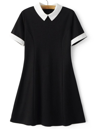 Contrast Lapel Zipper Minimalist Flare Dress