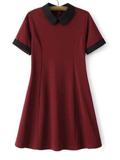 Red Lapel Zipper Minimalist Slim Dress