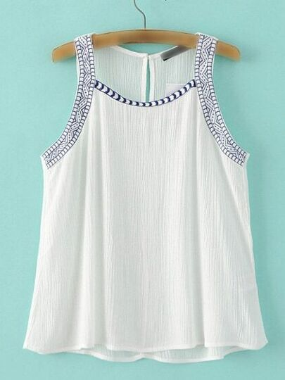 White Vintage Embroidered Tank Top