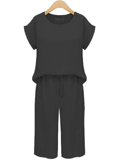 Black Cuffed Top With Drawstring Pant
