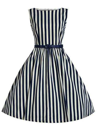 Blue Vertical Striped Flare Dress With Belt
