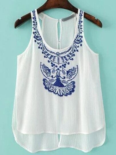 Blue Embroidery Dipped Hem Tank Top