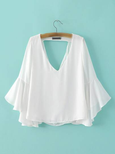 White Low Neck Bell Sleeve Hollow Blouse