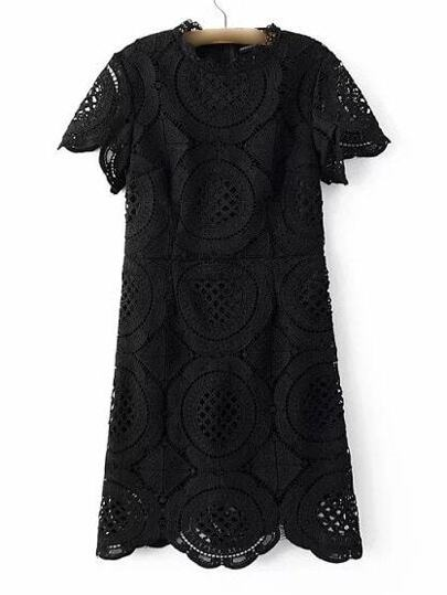 Black Band Collor Lace Zipper Dress