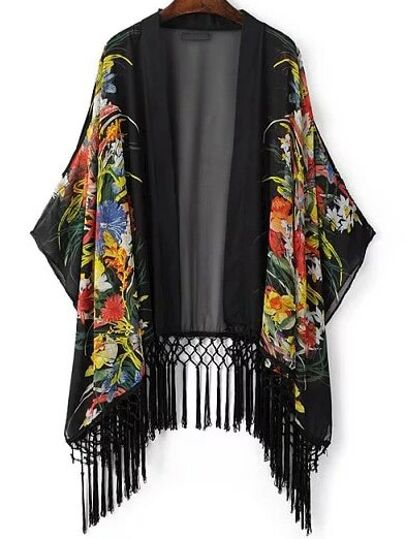 Multicolor Printed Tassel Chiffon Kimono