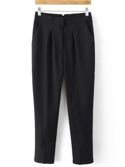 Black Turn Up Pockets Zipper Pant