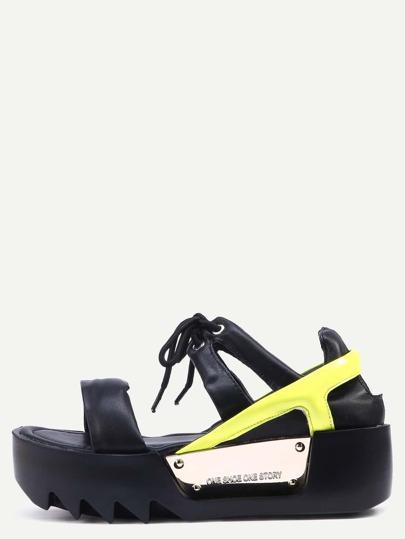Sandalias de plataforma peep toe con tira - amarillo