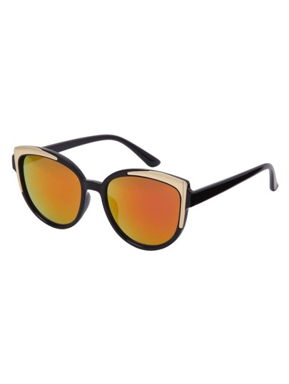 Black Frame Red Reflective Lenses Sunglasses