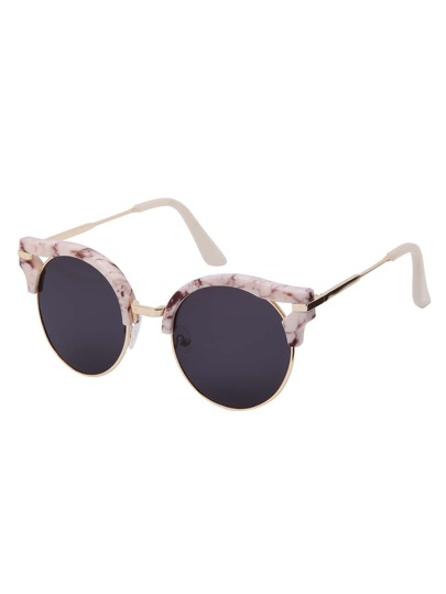 Black Half-frame Round Lenses Sunglasses