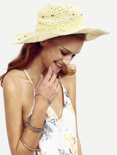 Cappello Di Paglia A Tesa Larga Decorato Perla Fiore - Beige