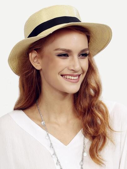 Beige Beach Flat-topped Straw Hat