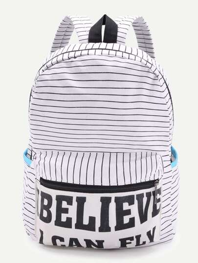 Letter Print Striped Canvas Backpack - White
